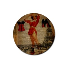 Vintage Newspaper Print Sexy Hot Gil Elvgren Pin Up Girl Paris Eiffel Tower Western Country Naughty  Drink Coaster (round) by chicelegantboutique