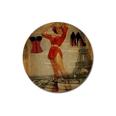 Vintage Newspaper Print Sexy Hot Gil Elvgren Pin Up Girl Paris Eiffel Tower Western Country Naughty  Magnet 3  (round) by chicelegantboutique