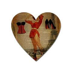 Vintage Newspaper Print Sexy Hot Gil Elvgren Pin Up Girl Paris Eiffel Tower Western Country Naughty  Magnet (heart) by chicelegantboutique