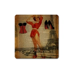Vintage Newspaper Print Sexy Hot Gil Elvgren Pin Up Girl Paris Eiffel Tower Western Country Naughty  Magnet (square) by chicelegantboutique
