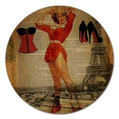 Vintage Newspaper Print Sexy Hot Gil Elvgren Pin Up Girl Paris Eiffel Tower Western Country Naughty  Magnet 5  (round) by chicelegantboutique