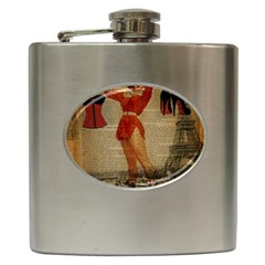 Vintage Newspaper Print Sexy Hot Gil Elvgren Pin Up Girl Paris Eiffel Tower Western Country Naughty  Hip Flask by chicelegantboutique