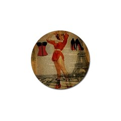Vintage Newspaper Print Sexy Hot Gil Elvgren Pin Up Girl Paris Eiffel Tower Western Country Naughty  Golf Ball Marker 4 Pack by chicelegantboutique