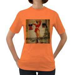 Vintage Newspaper Print Sexy Hot Gil Elvgren Pin Up Girl Paris Eiffel Tower Western Country Naughty  Womens' T Shirt (colored) by chicelegantboutique