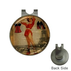 Vintage Newspaper Print Sexy Hot Gil Elvgren Pin Up Girl Paris Eiffel Tower Western Country Naughty  Hat Clip With Golf Ball Marker by chicelegantboutique