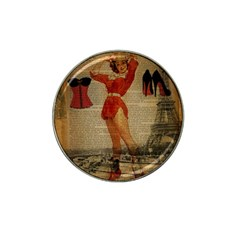 Vintage Newspaper Print Sexy Hot Gil Elvgren Pin Up Girl Paris Eiffel Tower Western Country Naughty  Golf Ball Marker 10 Pack (for Hat Clip) by chicelegantboutique