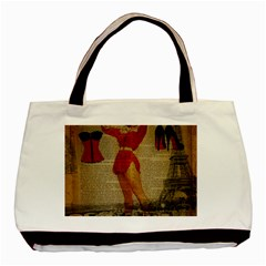 Vintage Newspaper Print Sexy Hot Gil Elvgren Pin Up Girl Paris Eiffel Tower Western Country Naughty  Classic Tote Bag by chicelegantboutique