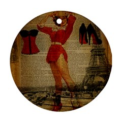 Vintage Newspaper Print Sexy Hot Gil Elvgren Pin Up Girl Paris Eiffel Tower Western Country Naughty  Round Ornament (two Sides) by chicelegantboutique