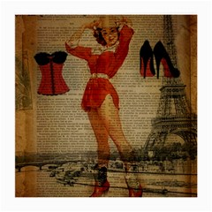 Vintage Newspaper Print Sexy Hot Gil Elvgren Pin Up Girl Paris Eiffel Tower Western Country Naughty  Glasses Cloth (medium) by chicelegantboutique