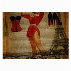 Vintage Newspaper Print Sexy Hot Gil Elvgren Pin Up Girl Paris Eiffel Tower Western Country Naughty  Glasses Cloth (large)