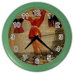 Vintage Newspaper Print Sexy Hot Gil Elvgren Pin Up Girl Paris Eiffel Tower Western Country Naughty  Wall Clock (color) by chicelegantboutique