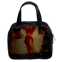 Vintage Newspaper Print Sexy Hot Gil Elvgren Pin Up Girl Paris Eiffel Tower Western Country Naughty  Classic Handbag (two Sides) by chicelegantboutique