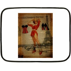 Vintage Newspaper Print Sexy Hot Gil Elvgren Pin Up Girl Paris Eiffel Tower Western Country Naughty  Mini Fleece Blanket (two Sided) by chicelegantboutique