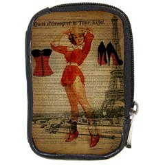 Vintage Newspaper Print Sexy Hot Gil Elvgren Pin Up Girl Paris Eiffel Tower Western Country Naughty  Compact Camera Leather Case by chicelegantboutique