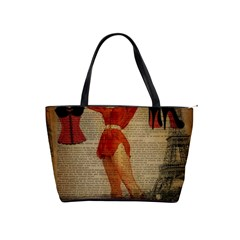 Vintage Newspaper Print Sexy Hot Gil Elvgren Pin Up Girl Paris Eiffel Tower Western Country Naughty  Large Shoulder Bag by chicelegantboutique