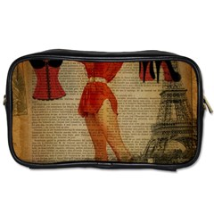 Vintage Newspaper Print Sexy Hot Gil Elvgren Pin Up Girl Paris Eiffel Tower Western Country Naughty  Travel Toiletry Bag (two Sides) by chicelegantboutique