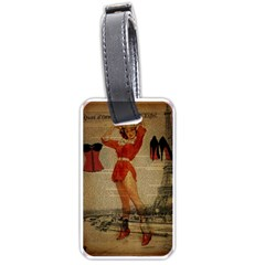 Vintage Newspaper Print Sexy Hot Gil Elvgren Pin Up Girl Paris Eiffel Tower Western Country Naughty  Luggage Tag (one Side)
