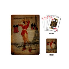 Vintage Newspaper Print Sexy Hot Gil Elvgren Pin Up Girl Paris Eiffel Tower Western Country Naughty  Playing Cards (mini) by chicelegantboutique