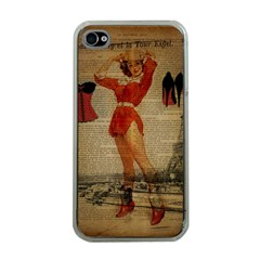 Vintage Newspaper Print Sexy Hot Gil Elvgren Pin Up Girl Paris Eiffel Tower Western Country Naughty  Apple Iphone 4 Case (clear) by chicelegantboutique