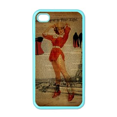 Vintage Newspaper Print Sexy Hot Gil Elvgren Pin Up Girl Paris Eiffel Tower Western Country Naughty  Apple Iphone 4 Case (color) by chicelegantboutique