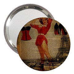 Vintage Newspaper Print Sexy Hot Gil Elvgren Pin Up Girl Paris Eiffel Tower Western Country Naughty  3  Handbag Mirror by chicelegantboutique