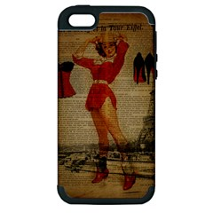 Vintage Newspaper Print Sexy Hot Gil Elvgren Pin Up Girl Paris Eiffel Tower Western Country Naughty  Apple Iphone 5 Hardshell Case (pc+silicone) by chicelegantboutique