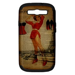 Vintage Newspaper Print Sexy Hot Gil Elvgren Pin Up Girl Paris Eiffel Tower Western Country Naughty  Samsung Galaxy S Iii Hardshell Case (pc+silicone) by chicelegantboutique