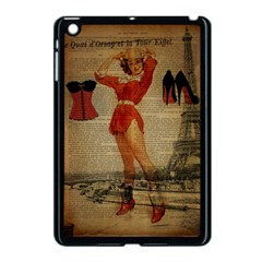 Vintage Newspaper Print Sexy Hot Gil Elvgren Pin Up Girl Paris Eiffel Tower Western Country Naughty  Apple Ipad Mini Case (black) by chicelegantboutique