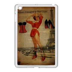 Vintage Newspaper Print Sexy Hot Gil Elvgren Pin Up Girl Paris Eiffel Tower Western Country Naughty  Apple Ipad Mini Case (white) by chicelegantboutique