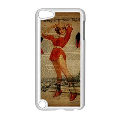 Vintage Newspaper Print Sexy Hot Gil Elvgren Pin Up Girl Paris Eiffel Tower Western Country Naughty  Apple Ipod Touch 5 Case (white) by chicelegantboutique