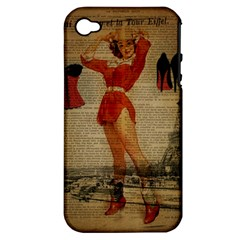 Vintage Newspaper Print Sexy Hot Gil Elvgren Pin Up Girl Paris Eiffel Tower Western Country Naughty  Apple Iphone 4/4s Hardshell Case (pc+silicone) by chicelegantboutique