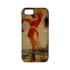 Vintage Newspaper Print Sexy Hot Gil Elvgren Pin Up Girl Paris Eiffel Tower Western Country Naughty  Apple Iphone 5 Classic Hardshell Case (pc+silicone) by chicelegantboutique