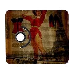 Vintage Newspaper Print Sexy Hot Gil Elvgren Pin Up Girl Paris Eiffel Tower Western Country Naughty  Samsung Galaxy S  Iii Flip 360 Case by chicelegantboutique