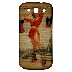 Vintage Newspaper Print Sexy Hot Gil Elvgren Pin Up Girl Paris Eiffel Tower Western Country Naughty  Samsung Galaxy S3 S Iii Classic Hardshell Back Case by chicelegantboutique