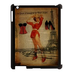 Vintage Newspaper Print Sexy Hot Gil Elvgren Pin Up Girl Paris Eiffel Tower Western Country Naughty  Apple Ipad 3/4 Case (black) by chicelegantboutique