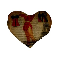 Vintage Newspaper Print Sexy Hot Gil Elvgren Pin Up Girl Paris Eiffel Tower Western Country Naughty  16  Premium Heart Shape Cushion  by chicelegantboutique