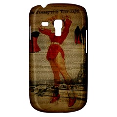 Vintage Newspaper Print Sexy Hot Gil Elvgren Pin Up Girl Paris Eiffel Tower Western Country Naughty  Samsung Galaxy S3 Mini I8190 Hardshell Case by chicelegantboutique
