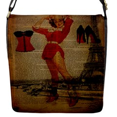 Vintage Newspaper Print Sexy Hot Gil Elvgren Pin Up Girl Paris Eiffel Tower Western Country Naughty  Removable Flap Cover (small) by chicelegantboutique