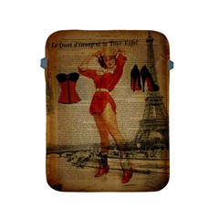Vintage Newspaper Print Sexy Hot Gil Elvgren Pin Up Girl Paris Eiffel Tower Western Country Naughty  Apple Ipad 2/3/4 Protective Soft Case by chicelegantboutique