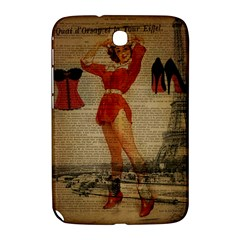 Vintage Newspaper Print Sexy Hot Gil Elvgren Pin Up Girl Paris Eiffel Tower Western Country Naughty  Samsung Galaxy Note 8.0 N5100 Hardshell Case  by chicelegantboutique