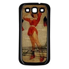 Vintage Newspaper Print Sexy Hot Gil Elvgren Pin Up Girl Paris Eiffel Tower Western Country Naughty  Samsung Galaxy S3 Back Case (black) by chicelegantboutique