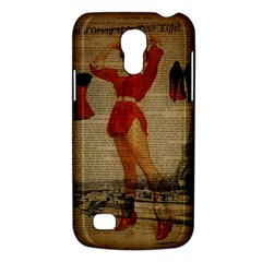 Vintage Newspaper Print Sexy Hot Gil Elvgren Pin Up Girl Paris Eiffel Tower Western Country Naughty  Samsung Galaxy S4 Mini Hardshell Case  by chicelegantboutique