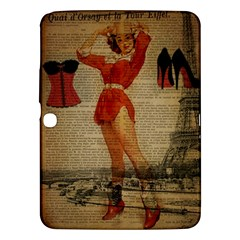 Vintage Newspaper Print Sexy Hot Gil Elvgren Pin Up Girl Paris Eiffel Tower Western Country Naughty  Samsung Galaxy Tab 3 (10 1 ) P5200 Hardshell Case  by chicelegantboutique