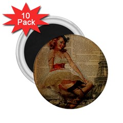 Cute Sweet Sailor Dress Vintage Newspaper Print Sexy Hot Gil Elvgren Pin Up Girl Paris Eiffel Tower 2 25  Button Magnet (10 Pack)