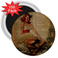 Cute Sweet Sailor Dress Vintage Newspaper Print Sexy Hot Gil Elvgren Pin Up Girl Paris Eiffel Tower 3  Button Magnet (100 Pack) by chicelegantboutique