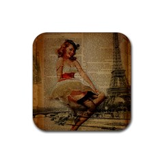 Cute Sweet Sailor Dress Vintage Newspaper Print Sexy Hot Gil Elvgren Pin Up Girl Paris Eiffel Tower Drink Coasters 4 Pack (square) by chicelegantboutique