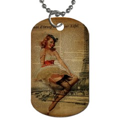 Cute Sweet Sailor Dress Vintage Newspaper Print Sexy Hot Gil Elvgren Pin Up Girl Paris Eiffel Tower Dog Tag (two Sided)  by chicelegantboutique
