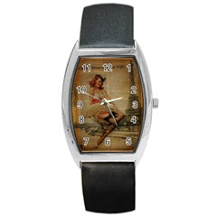 Cute Sweet Sailor Dress Vintage Newspaper Print Sexy Hot Gil Elvgren Pin Up Girl Paris Eiffel Tower Tonneau Leather Watch by chicelegantboutique