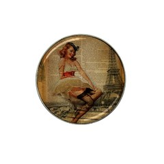 Cute Sweet Sailor Dress Vintage Newspaper Print Sexy Hot Gil Elvgren Pin Up Girl Paris Eiffel Tower Golf Ball Marker 4 Pack (for Hat Clip) by chicelegantboutique