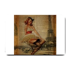 Cute Sweet Sailor Dress Vintage Newspaper Print Sexy Hot Gil Elvgren Pin Up Girl Paris Eiffel Tower Small Door Mat by chicelegantboutique